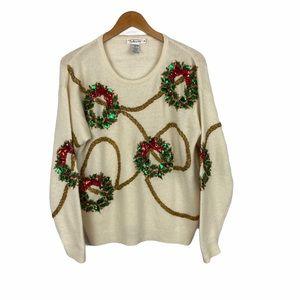 Talbots cream sparkly lambs wool wrath sweater